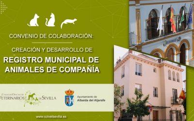 El Ayuntamiento de Albaida del Aljarafe firma un convenio con el Colegio de Veterinarios de Sevilla para la identificación de animales de compañía